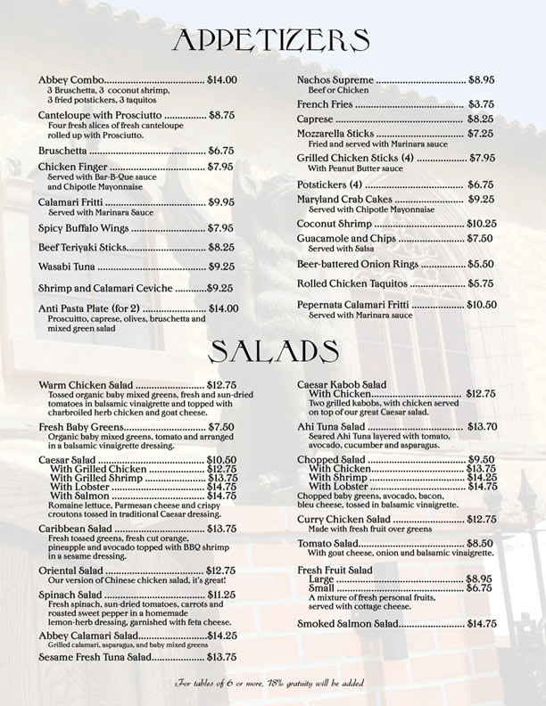 abbey food and bar appetizer menu