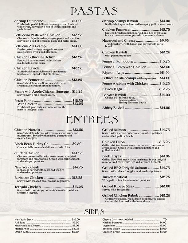 abbey food and bar entree menu