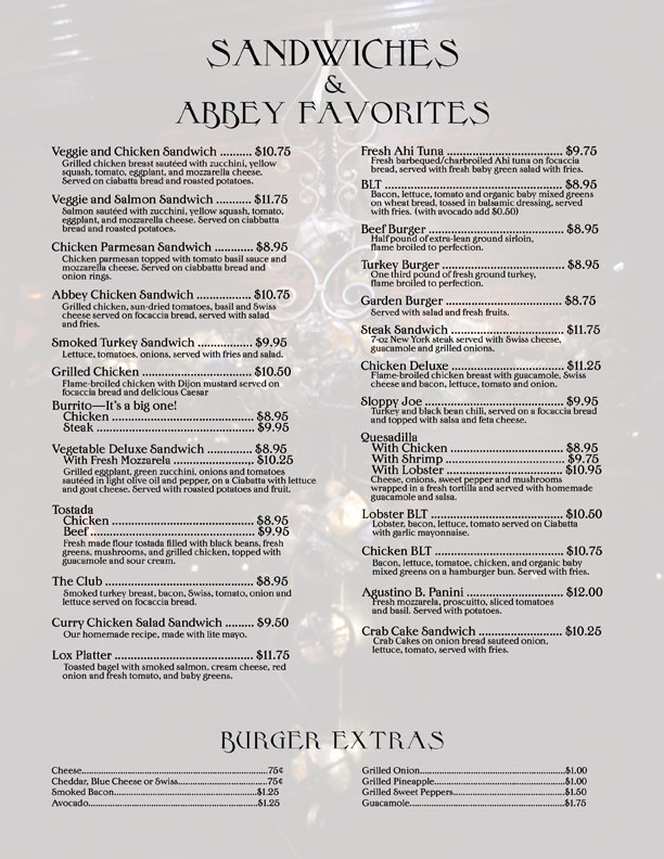 abbey food and bar sandwich menu