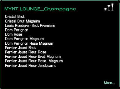 Mynt Lounge ChampagneDrink Menu